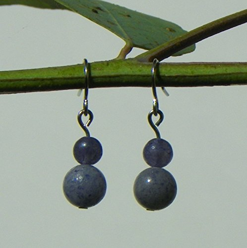 Blue Iolite Gem (Crystal Gemstone Dangle Earrings with Blue Iolite and Blue Aventurine on Surgical Stainless Steel, Pair for Psionic Perception)