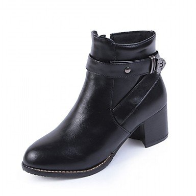 RTRY Zapatos De Mujer De Piel Sintética Invierno Primavera Moda Botas Botas Bota Chunky Talón Puntera Redonda Botines/Botines De Cremallera Para Boda Oficina &Amp; US7.5 / EU38 / UK5.5 / CN38