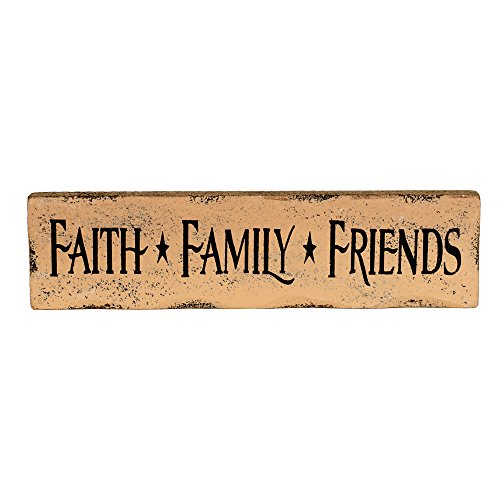 Faith Family Friends 8 x 2 inch Wood Aged Look Table Top Sign Plaque by The Country House Collection