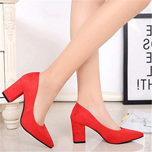 Mariage Pumps Travail Pointu Haut Carrés Escarpin Chaussure à Slip Escarpins Talons Rouge on Femmes wq8tgnC
