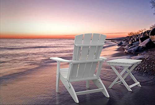 PolyTEAK Modern Oversized Folding Poly Adirondack Chair, Powder White | Adult-Size, Weather Resistant, Made from Plastic