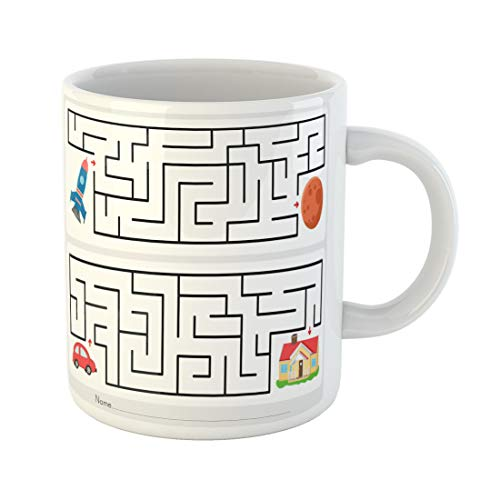 Semtomn Funny Coffee Mug Maze Game Help Rocket Find the Way to Mars 11 Oz Ceramic Coffee Mugs Tea Cup Best Gift Or Souvenir ()
