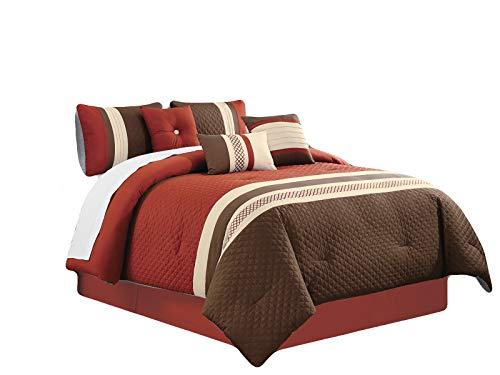 HGS 7-Pc Aziza Embossed Moroccan Trellis Embroidery Comforter Set Rust Brown Beige King
