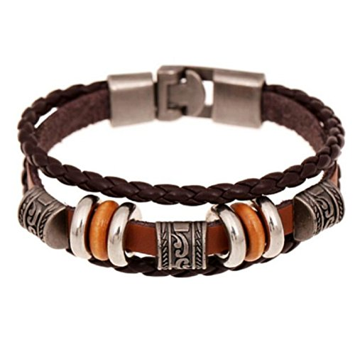 Fariishta Jewelry Retro Fashion Hand Braided Leather Wrap Bracelet