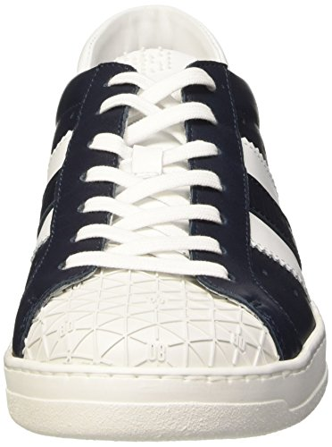 Low Top White Bounce Bikkembergs Blu Blue 588 Leather M Uomo Scarpe Shoe L 0Oq87UO