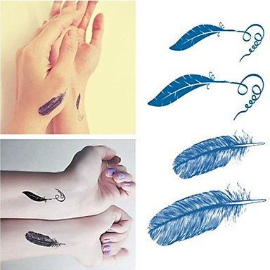 WS pegatinas tatuajes de plumas de moda a prueba de agua pegatinas pequeñas tatuajes temporales para