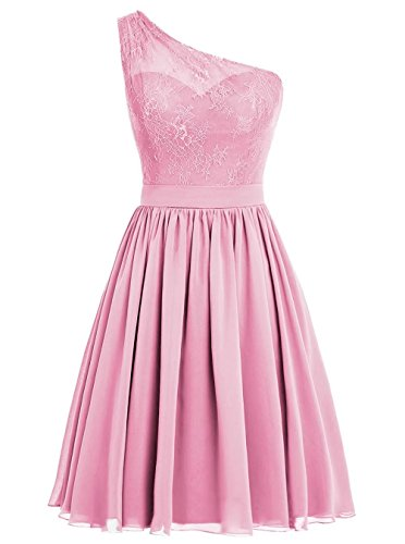 Dresses Pink Dress Appliques Homecoming Prom With One Short Cute shoulder d11CFn