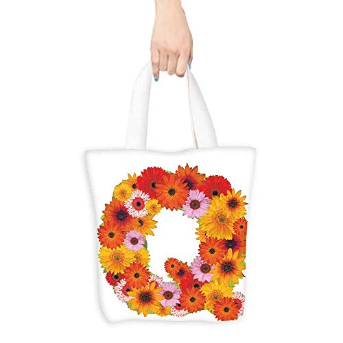 Canvas shopping bag,Letter Q Floral Capital Q Ornamental Spring Florets Romantic Inspirational Initials Print,Canvas Shopping Beach Cloth Tote,16.5