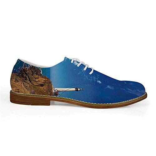 - Lighthouse Decor Stylish Leather Shoes,California Pigeon Point Lighthouse in Cabrillo HWY Coastal Highway State Route 1 for Men,US 12