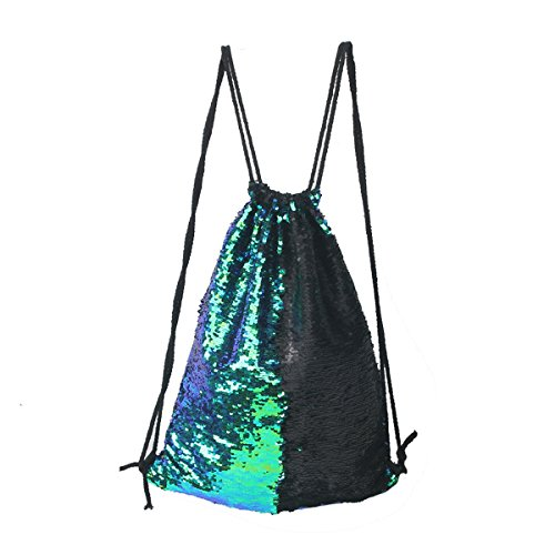 Tinksky Fashion Glitter Bag Sackpack Sequins Drawstring Backpack Green