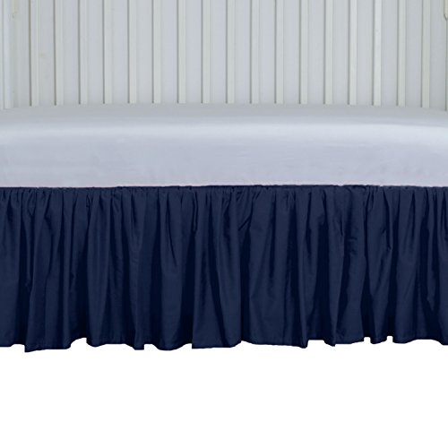 Navy Crib Skirt Gathered 15 inches long 4 sided from AB Lifestyles