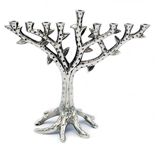 Hanukkah Menorah Tree Of Life Contemporary Textured Chrome Design for Chanukah ()