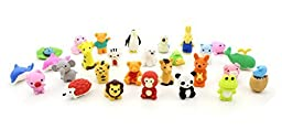 Set of 25 - ZICOME Adorable Pencil Eraser Zoo Animal Collection - Children\'s Day Gift Party Favor Artist Supply Eraser - More Fun, Toy Kids Set