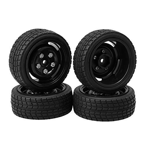 Lattice Rim - BQLZR Black Small Square Lattice Shape Tire and Five Holes Wheel Hub for RC 1:10 On-Road Racing Car Pack of 4