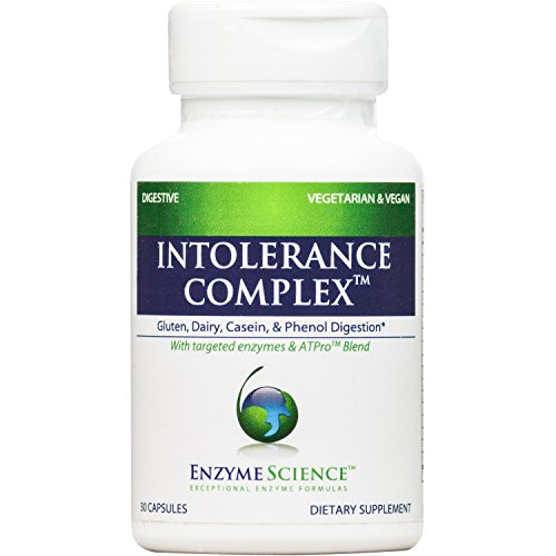 Enzyme Science - Intolerance Complex, Comprehensive Support to Relieve Common Digestive Sensitivities to Dairy, Lactose, Gluten and Casein with Enzymes and Probiotics, Vegan, 30 Capsules -