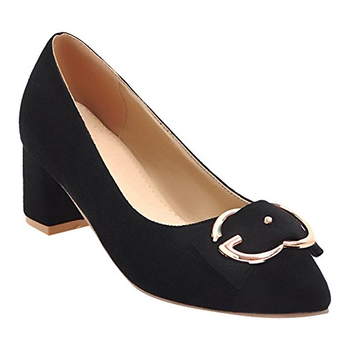 Carolbar Women's Grace Sweet Bow Block Mid Heel Pointed Toe Court Shoes Black
