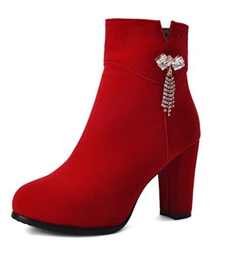 AllhqFashion Mujeres Esmerilado Botas Caña Redonda Diamante Alto Tacón Puntera Rojo con Sólido Baja xgxrZd1wq