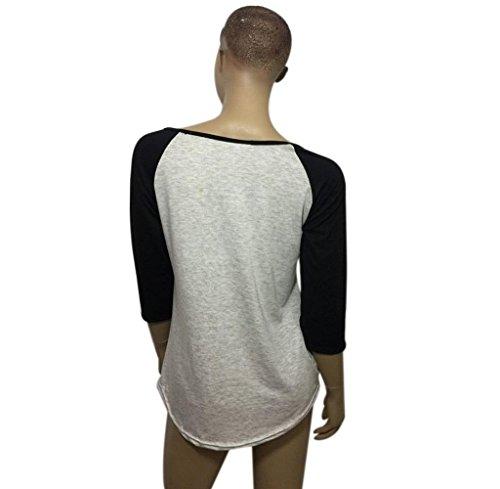 Tongshi Las mujeres t carta flecha impresa de manga tres cuartos empalme superior t-shirt Negro