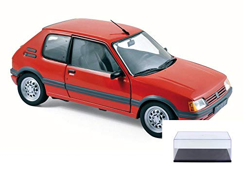 Norev Diecast Car & Display Case Package - 1988 Peugeot 205 GTI 1.6 Coupe, Vellelunga Red 184853 - 1/18 Scale Diecast Model Toy Car w/Display Case ()