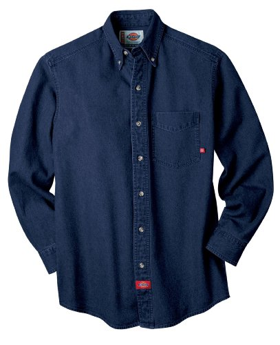 Cotton Utility Shirt Patch (Dickies Men's Long Sleeve Denim Work Shirt, Indigo Blue, Large)