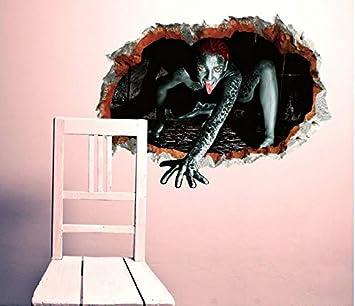 Etiqueta de la pared del Festival de Fantasmas de Halloween 3D-Dimensional Fantasma Femenina Rompe La Pared En La Ventana Porche Esquina Viste a la Pared Etiqueta Mural: Amazon.es: Bricolaje y herramientas
