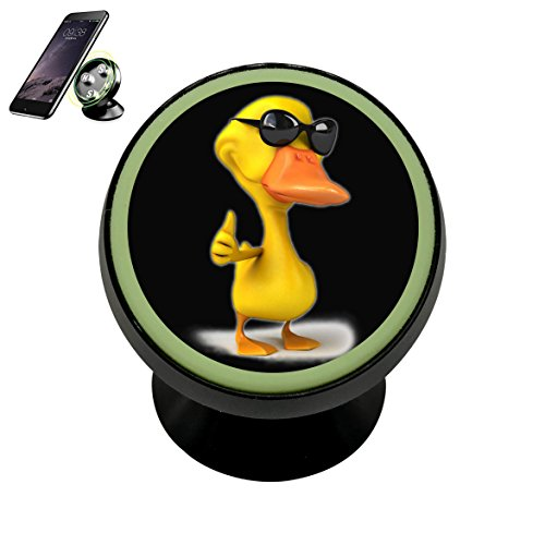 3D Yellow Lucky Duck Quacker Magnetic Phone Car Mount Holder Noctilucent Mobile Cradle Stand Universal 360 ° Rotating Car Dashboard Support Cell Phone Kit - Sunglasses 360 Force