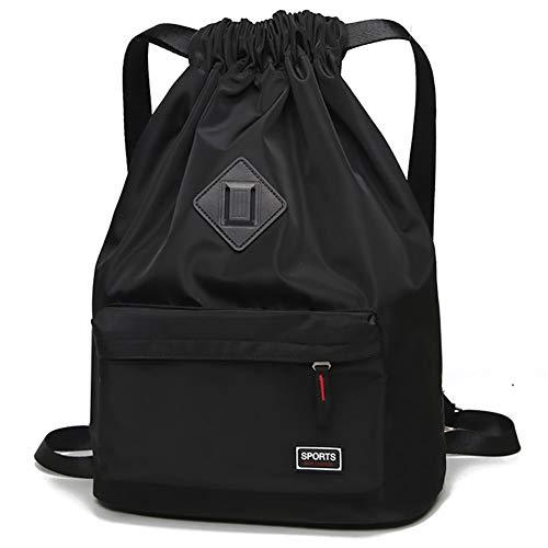 Cinch Nylon (Waterproof Drawstring Sport Bag Backpack String Sackpack Cinch Nylon for Gym (Black))