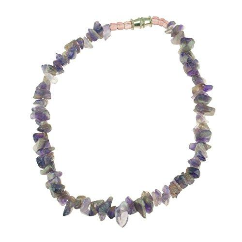 BlueRica Purple Amethyst Gemstone Chips Anklet