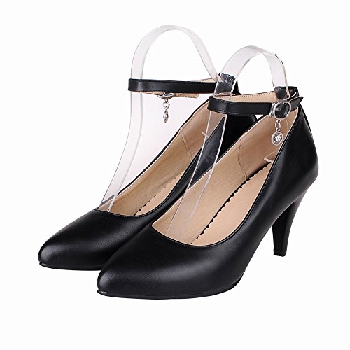 Latasa Womens Sexy Pointed-toe High Heels Ankle Strap Pumps Black vJC6mLHa