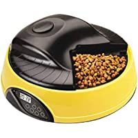 Q-pets Automatic 4 Tray Pet Feeder with LCD Display, Yellow