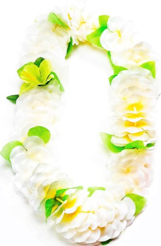 Forum Novelties Deluxe Color Dipped White Green Silk Flower Hawaiian Lei -