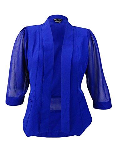 Blazer City (Coloured Drapey Plus Size Blazer Jacket in Cobalt - Size 14 / XS)
