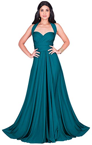KOH KOH Plus Size Womens Long Bridesmaid Multi-Way Wedding Convertible Wrap Infinity Cocktail Sexy Summer Party Formal Prom Transformer Gown Gowns Maxi Dress Dresses, Blue Teal 2XL - Bridesmaids Bridal And Gowns Dresses