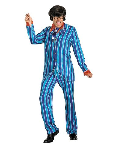Austin Power Halloween Costumes (Disguise Austin Powers Carnaby Suit Deluxe 50-52 Costume, Blue/Red, XX-Large/50-52)