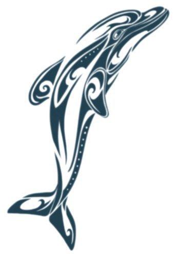 Large Polynesian Tribal Dolphin Temporary Tattoo / Set of 3 by - Dolphin Mall Shopping