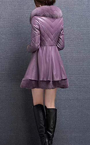 Longues Plus Parkas Fit Hiver Slim Taille Épaississent Manches Veste Violett Mode Fourrure En Longue Cuir À Vintage Femme Avec Col Thermique XP4qX