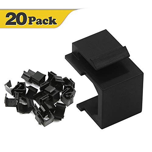 - VCE 20-Pack Blank Keystone Jack Inserts for Wallplate- Black