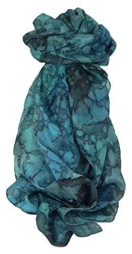 Hand Painted Stripes - Mulberry Silk Hand Painted Long Scarf Classic French Blues by Pashmina & Silk