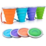 JUREN Silicone Collapsible Cup, 4 Pcs Foldable Travel Camping Cup, Expandable Drinking Cup