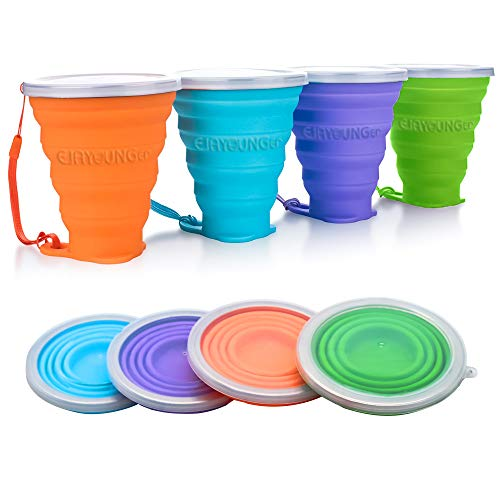 EJAYOUNGer Silicone Collapsible Cup, 4 Pcs Foldable Travel Camping Cup, Expandable Drinking Cup Set with Lids for Outdoor Camping/Hiking/Office and Home(270ml)