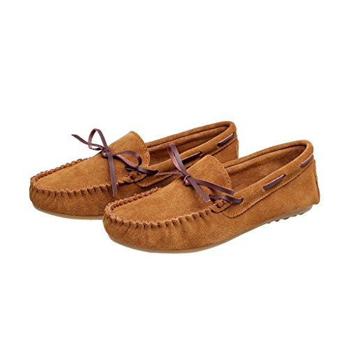 Brown Boat Loafers Moccasins By Driving Suede Womens Dear Casual Shoes Flats Time Leather qwxOXx47IY