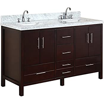 """Kitchen Bath Collection KBC040BRCARR California Double Sink Bathroom Vanity with Marble Countertop, Cabinet with Soft Close Function and Undermount Ceramic Sink, Carrara/Chocolate, 60"""""""