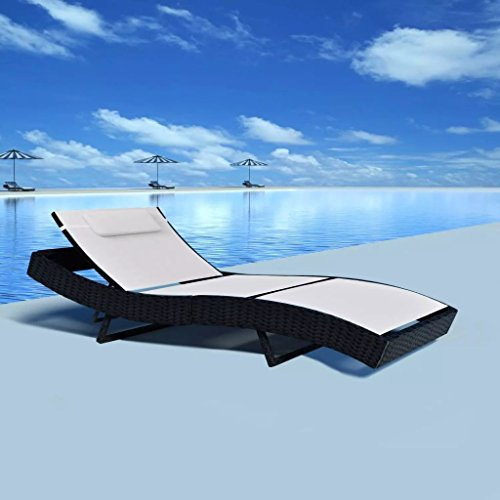 Outdoor Round Chaise (Daonanba Outdoor Sun Bed Swimming Pool Chaise Chair Comfortable Sun Lounger Poly Rattan Textilene White)
