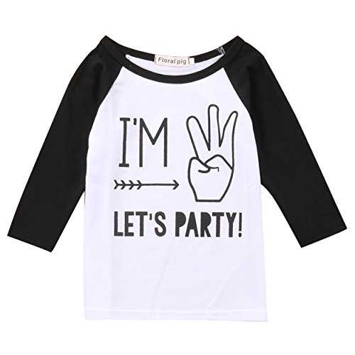 [Toddler Boys Girls Birthday Party Outfit Kids Long Sleeve Funny T shirt Top 1-4 years (3 years, black&white)] (Long Sleeve Birthday Shirt)