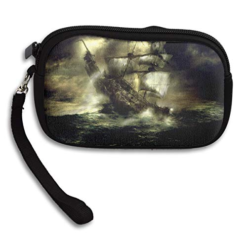 Reteone Little Wallet - Ghost Pirate Ship Graphics Coin Purse Storage Package - Money Holder Bag Key Handbag - Zipper Mini Wallet for Men & -
