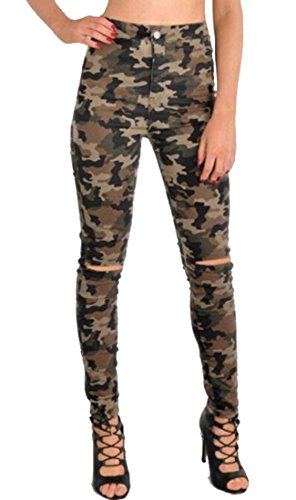 OULIU Womens Casual High Waist Ripped Hole Denim Camo Skinny Jeans 1 - Denim Camo
