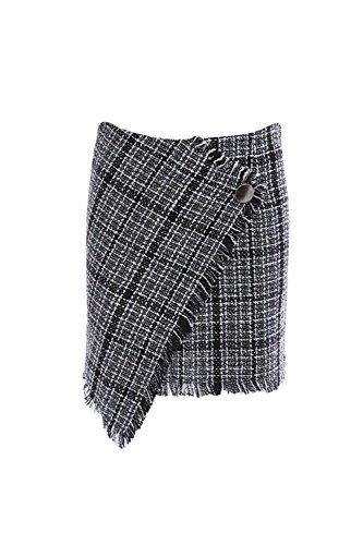 Sobrepelliz cuadros Vintage faldas irregulares mujeres de con botón Black