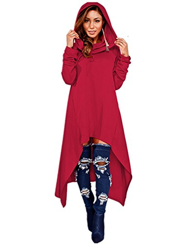 Red Riding Hood Sweatshirt - Xuan2Xuan3 Womens Kangaroo Pockets Loose Hoodies Sweatshirts Outerwear Coat Dress, Wine Red, XXX-Large