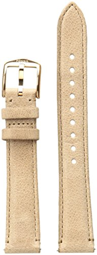 Fossil Leather Calfskin Beige Watch Strap, 16 (Model: S161036) (Womens 16mm Watch Band)
