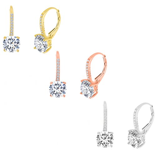Lesa Michele Womens 3 Pair of Lever Back Drop Earrings in Sterling Silver made with Swarovski Crystals in Gift Box Multi Pack Beautiful for Bride or Mom